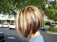 Red Blonde and Brown Highlights with an Inverted Bob   http://braidhairstyle.blogspot.com