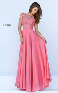 Coral Sherri Hill 50132 Long Cap Sleeve Homecoming Dress