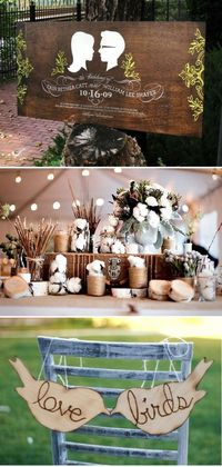 Love the second and third photo. Beautiful natural wood use idea. Could tie in cinnamon, cotton, wood, twine elements with this decor. Royal blue ribbons as accent. Tie in small green accents too. Pass on the sign.