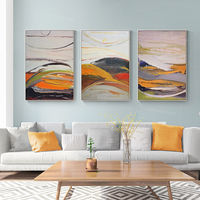Framed painting set of 3 wall art abstrac mountain orange Wall Art palette knife original Paintings on Canvas 3 piece wall art heavy texture $198.00