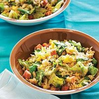 The amount of chopped lettuce in this recipe looks like it's enough to feed an army, but it wilts down quickly.