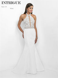 Blush Intrigue 135 White Beaded Mermaid Prom Gowns