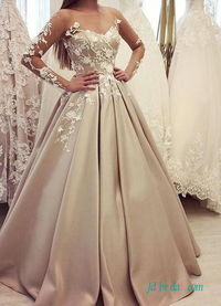 H0555 Beautiful sheer long sleeved champagne wedding dress Model: H0555(Worldwide Free shipping)