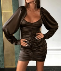 Off Shoulder Ruched Satin Bodycon Dress-Brown at www.fashionsqueen.com
