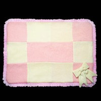 Fifi & Romeo Cashmere Checkered Blanket - Bow with trim - Pink