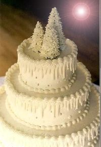 Winter Wedding Cake~ Ice cream cones covered in royal icing (recipe for royal icing) are what I used to make the topper for this simple wedding cake. The icicles on the sides are piped buttercream frosting with silver dragees added for a little ex...