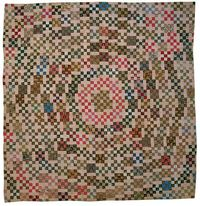 "Whirling Nine Patch quilt, c. 1900, maker and region unknown. In the ""Maverick Quilts"" exhibit at the National Cowgirl Museum (Texas). Photo by Jean Demeter."