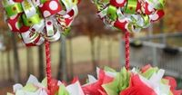 grinch christmas party | Christmas Grinch Themed Ribbon Topiary in Red and Lime