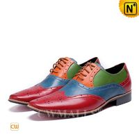 Men Leather Shoes   CWMALLS® Leather Splicing Brogue Shoes CW708209[Father's Day Gifts, Handmade]