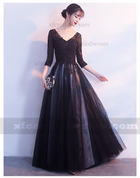 Lace Long Evening Dresses with Sleeves MXN1095