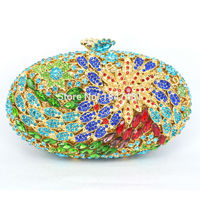 Studded Jeweled Clutch Flower Evening Bags