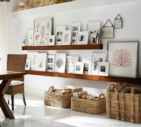Wood Gallery frames on picture shelves | Pottery Barn