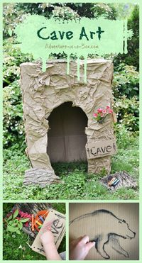 Have your kids ever felt inspired to draw on the walls? What about the walls of the cave? Inspired by prehistoric people, we built a cardboard cave, then decora