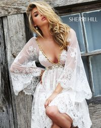 Sherri Hill 32260 White Plunging Lace Vintage Long Sleeves Cocktail Dress