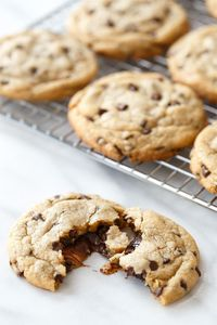 Stuffed Peanut Butter Cup Chocolate Chip Cookies from