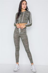 Green Heathered Crop Top Legging Two Piece Set $26.51