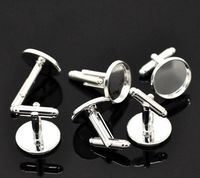 CLEARANCE Pair of Flat Silver Tone Cufflinks for 16mm Gemstones and Cabochons. Wedding and Party Accessory. £3.49