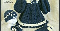 Navy Blue and Ivory Dress with Matching Hat by SweetSouthernBabies