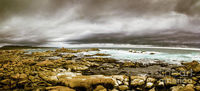 Wide Ocean Scape Wall Artwork | Atmosphere in a oncoming storm with a wide angle landscape capturing the dramatic hues on a cloudy Tasmanian rocky coast. Taken Granville Harbour, Australia | Jorgo Photography #wallart #landscapeprint #photoart #granvilleh...