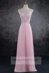 Beaded Pink Chiffon Formal Long Prom Dresses 2014