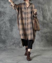 Linen midi shirt, Oversized long sleeved shirt, plaid shirt, plus size clothes