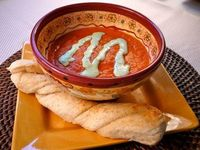 just like paradise bakery tomato soup. i did the math: for a full batch, there are 1243 calories and this makes A LOT of soup! If you divvy it up into 8 servings, that's only 155 calories per serving!