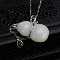 Natural Hetian Jade Gourd Necklace-Vintage Necklace-925 Silver Inlay Clavicle Necklace-Ladies Sweater Necklace-Christmas gifts