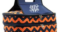 Monogrammed Orange and Navy Chevron with Black Trim Insulated Double Casserole Tote
