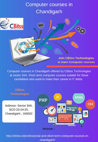 CBitss Technologies provides the Computer course in Chandigarh at sector 34 for those candidates who want to make their career and improve their knowledge. 