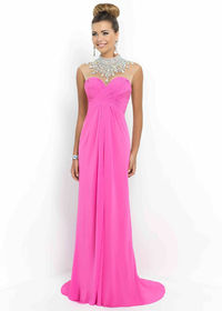 Cheap Petunia High Illusion Neck Beaded Ruched Prom Dress 2015