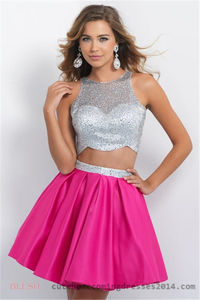 Blush 10075 High Neck Two Piece Beaded Short Homecoming Dress