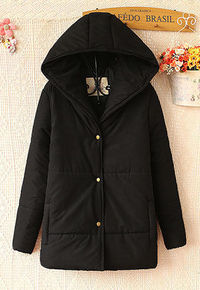 ZIPPER BUTTON SOLID COLOR WARM HOODED JACKET LONG PADDED COAT Price:$39.99 Style: Casual  Material: Cotton  Color: Black / Blue