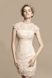 Prom Dresses Sheath Short Cap Sleeves Good Quliaty Lace