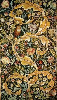 William Morris, 1834-96, medievalist Renaissance man. The author, poet, illustrator, designer and socialist is associated with the Pre-Raphaelites, fantasy literature, conservation and very expensive wallpaper.