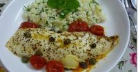 kitchen flavours: Baked Fish Fillet with Tomatoes & Herbed Couscous