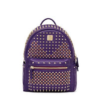 MCM Small Swarovski Backpack In Purple