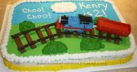 I made this Thomas the Train birthday cake for my Thomas obsessed son's 2nd birthday. The cake is made of a boxed mix. I got the idea from a couple of