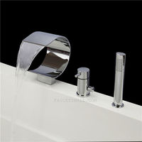 Waterfall Chrome Finish Hand Shower Included Tub Faucet
