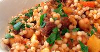 Slow Cooker Moroccan Tagine with Chickpeas & Pearl Couscous #BigAppleCurry