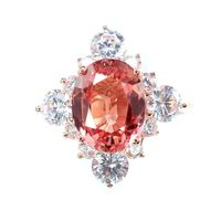 A Vintage 14K Rose Gold 3.85CT Oval Cut Pink Padparadscha Sapphire Engagement Ring $165.00