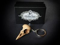 Skull KEYCHAIN - RAVEN Skull replica Keychain with hand made certificate - Gift Idea $19.50
