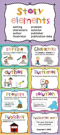 Posters for setting, characters, author, illustrator, problem, solution, publisher, and publication date.