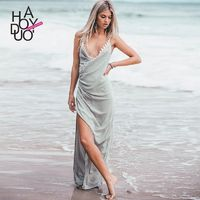 2017 summer dress new sexy deep v-bottom hem slits slim dress - Bonny YZOZO Boutique Store