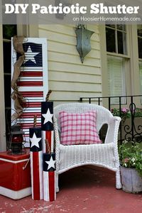 Decorate your Front Porch, Yard or even inside your home with this easy to make Patriotic Shutter. With just a few supplies and an old shutter, you have a cool