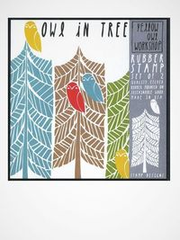 Owl in tree, four seasons - just the tree part for stamp