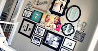 Photo wall- I like the mix of color with black and white and starting with a wedding photo and adding baby pics in order and a family pic in the middle