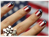 American flag manicure, Memorial Day Nail Art, 4th of July Mani, stars and stripes, red white & blue nails, USA, America