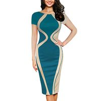 Free Ostrich Fashion Womens Dresses Designer Vestidos 2019 Sexy Bodycon Short Sleeve Party Business Pencil Dress D0335 $34.50