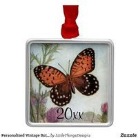 Beautiful vintage Monarch butterfly ornament. Personalize with your own text.