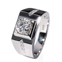 925 Sterling Silver Men Solitaire Ring Pave setting 0.8CT 5A cz £43.00